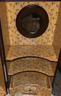 Vintage Trifold Wood Trunk Wardrobe Closet Chest & Clothes w Drawers Bed