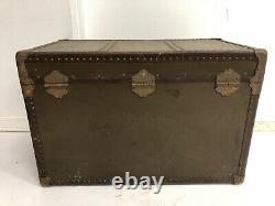 Vintage WOOD STEAMER TRUNK chest coffee table storage box antique decor brown PA