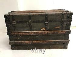 Vintage WOOD STEAMER TRUNK chest coffee table storage box luggage antique decor
