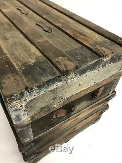 Vintage WOOD STEAMER TRUNK chest coffee table storage toy box antique brown loft