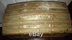 Vintage hand painted wood steamer trunk Daisy floral hope chest ornate strap HTF