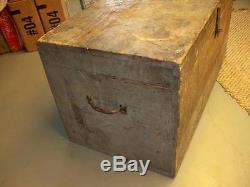 Vtg Antique Carpenters Wood Tool Box Chest Trunk3 Tray Primitive Old Paint AAFA