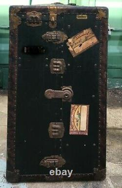 Vtg. Belber Steamer Trunk Wardrobe with Wooden Hangers and 5 Drawers, No Key