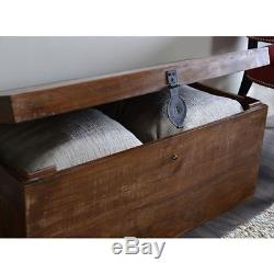 Wood Chest Antique Look EXOTIC Trunk Vintage Table Wooden Steamer Old Fashioned
