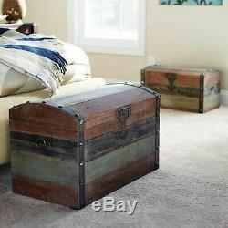 Wood Steamer Trunk Weathered Metal Studded Strap Accent Storage Hope Chest Large