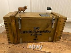 Wooden Ammo Box Vintage 1984 Rustic Storage Chest Industrial Trunk Coffee Table
