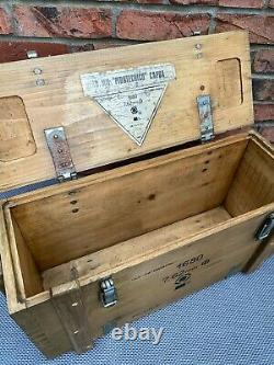 Wooden Ammo Box Vintage 1987 Rustic Storage Chest Industrial Trunk Coffee Table