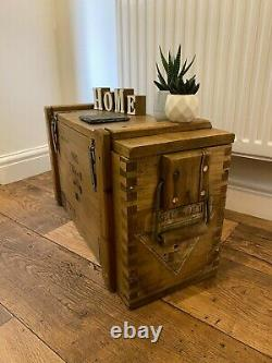 Wooden Ammo Box Vintage 1988 Rustic Storage Chest Industrial Trunk Coffee Table