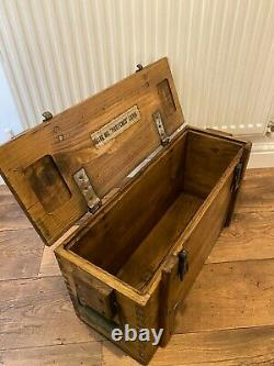 Wooden Ammo Box Vintage 80's Rustic Storage Chest Industrial Trunk Coffee Table