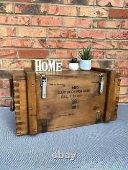Wooden Ammo Box Vintage 80s Rustic Storage Chest Industrial Trunk Coffee Table
