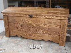 Wooden Blanket Box Coffee Table Trunk Vintage Chest Wooden Ottoman Toy Box (FR3)