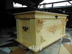 Wooden Blanket Box Coffee Table Trunk Vintage Chest Wooden Ottoman Toy Box MDL2