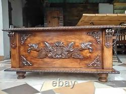 Wooden Blanket Box Coffee Table Trunk Vintage Chest Wooden Ottoman Toy Box (RN1)