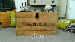 Wooden Chest Trunk Blanket Box Coffee Table Vintage Luggage storage G. N. E. R