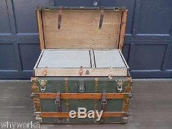 XNICE 1890s Antique Green Canvas w Wood Slates Flat Top Travel Steamer Trunk