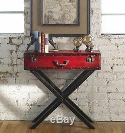 XXL 34 Taggart Console Accent Table Antiqued Red Trunk Luggage Look Uttermost
