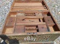 Zanzibar Dowry Dower Chest Trunk Antique Solid Wood Brass Decorations with Key